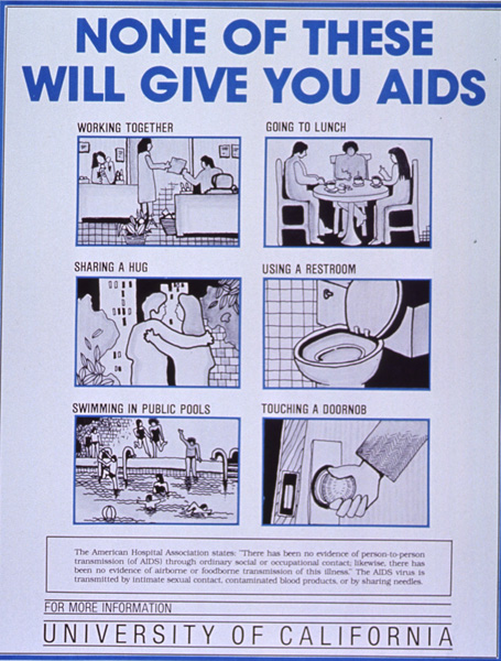 None of these will give you AIDS University of California poster 1985
